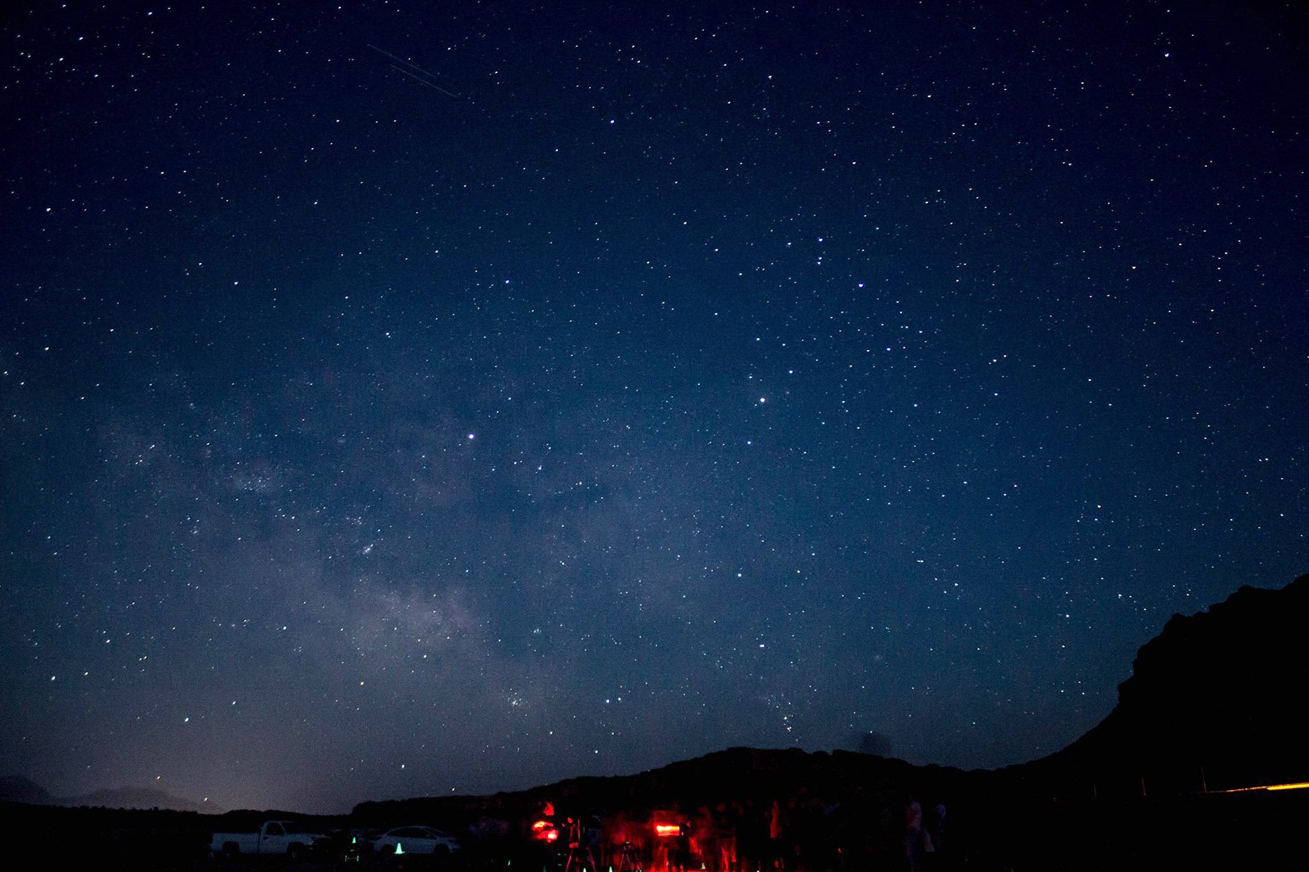 """Dark sky photo taken during a NPS """"star party"""" at Grandview Point, Island in the Sky, Canyonlands National Park."""